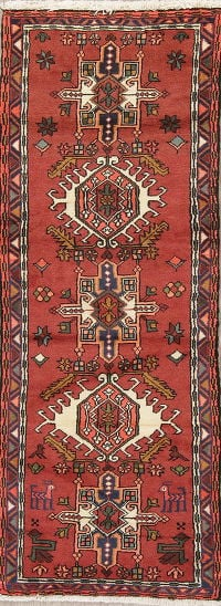 Geometric Red Gharajeh Persian Hand-Knotted Runner Rug Wool 2x6