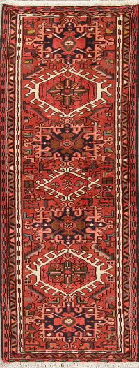 Tribal Red Gharajeh Persian Hand-Knotted Runner Rug Wool 2x6
