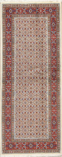 All-Over Ivory Bidjar Persian Hand-Knotted Runner Rug Wool 3x6