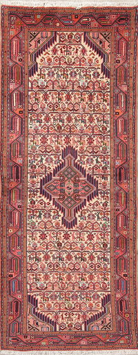 All-Over Ivory Hamedan Persian Hand-Knotted Runner Rug Wool 3x7