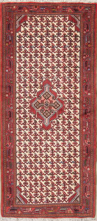 All-Over Ivory Hamedan Persian Hand-Knotted Runner Rug Wool 3x6