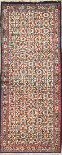All-Over Ivory Mood Persian Hand-Knotted Runner Rug Wool 3x7