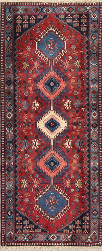 Geometric Red Yalameh Persian Hand-Knotted Runner Rug Wool 3X6