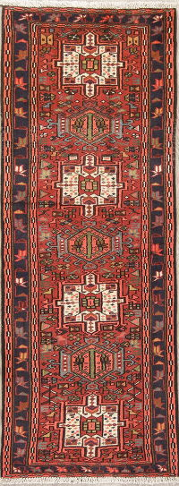 Tribal Red Gharajeh Persian Hand-Knotted Runner Rug Wool 2x7