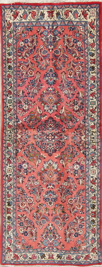Floral Coral Red Sarouk Persian Hand-Knotted Runner Rug Wool 3x6