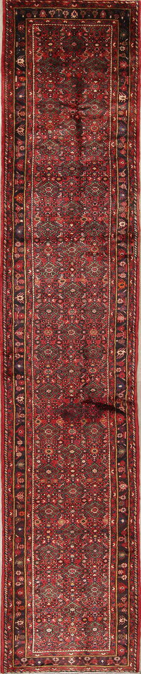 Geometric Red Hamedan Persian Hand-Knotted Runner Rug Wool 3x15