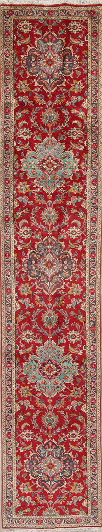 Floral Red Tabriz Persian Hand-Knotted Runner Rug Wool 2x14