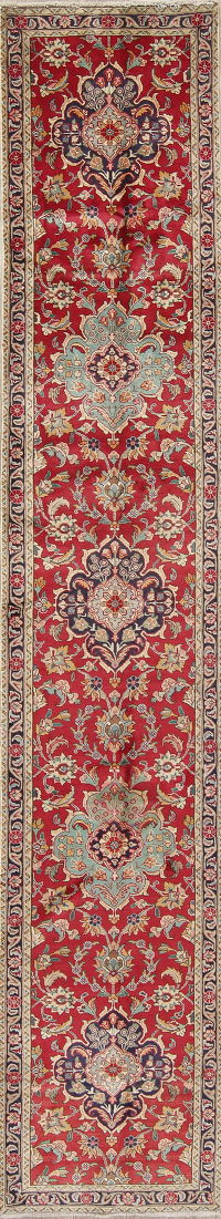 Floral Red Tabriz Persian Hand-Knotted Runner Rug Wool 3x13