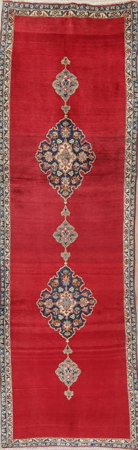 Geometric Red Kashan Persian Hand-Knotted Runner Rug Wool 3x10