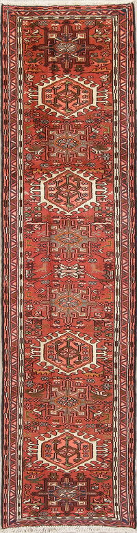 Tribal Red Gharajeh Persian Hand-Knotted Runner Rug Wool 2x9