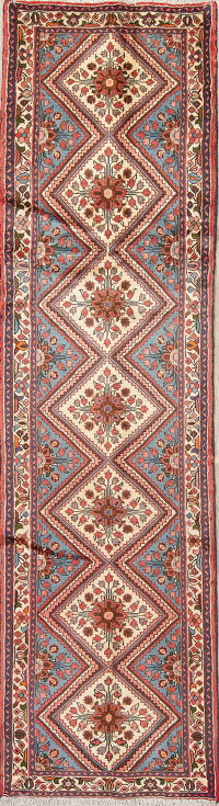 Floral Ivory Hamedan Persian Hand-Knotted Runner Rug Wool 3x9