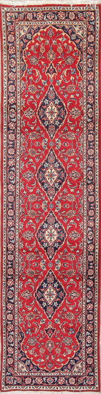 Floral Red Kashan Persian Hand-Knotted Runner Rug Wool 2x10