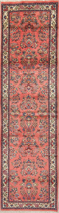 Floral Coral Red Sarouk Persian Hand-Knotted Runner Rug Wool 3x9
