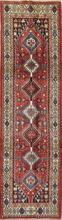 Geometric Red Yalameh Persian Hand-Knotted Runner Rug Wool 3x10