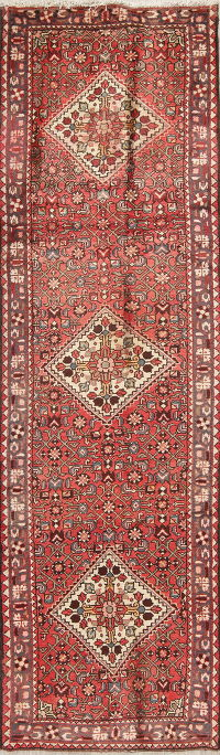 Geometric Red Malayer Persian Hand-Knotted Runner Rug Wool 3x10