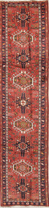 Tribal Red Gharajeh Persian Hand-Knotted Runner Rug Wool 2x10