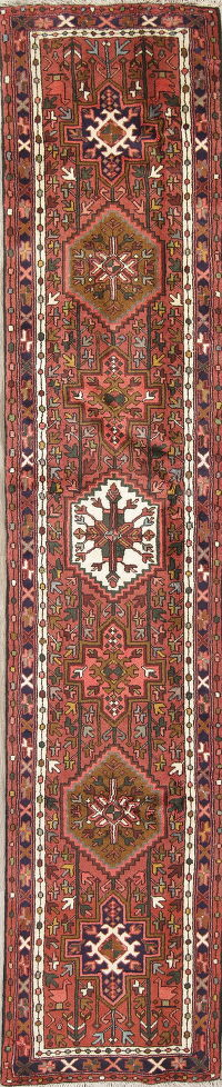 Geometric Red Gharajeh Persian Hand-Knotted Runner Rug Wool 2x11
