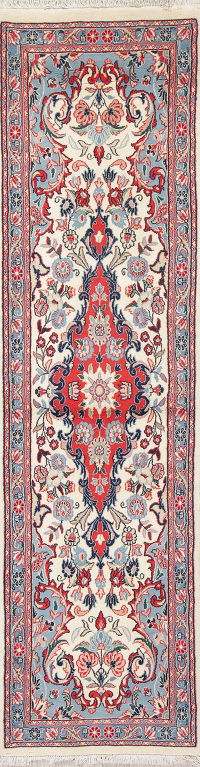 Floral Ivory Sarouk Persian Hand-Knotted Runner Rug Wool 2x7