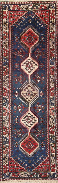 Geometric Blue Yalameh Persian Hand-Knotted Runner Rug Wool 3x7