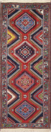 Geometric Red Yalameh Persian Hand-Knotted Runner Rug Wool 3x7