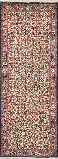 All-Over Mood Persian Hand-Knotted Runner Rug Wool 3x7