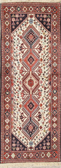 Geometric Ivory Yalameh Persian Hand-Knotted Runner Rug Wool 2x6