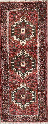 Geometric Red Bidjar Persian Hand-Knotted Runner Rug Wool 2x5