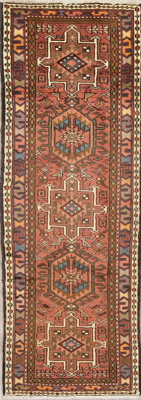 Geometric Rust Red Gharajeh Persian Hand-Knotted Runner Rug Wool 2x7
