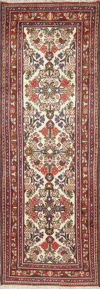 Floral Ivory Malayer Persian Hand-Knotted Runner Rug Wool 3x7