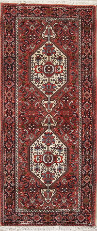 Geometric Brick Red Bidjar Persian Hand-Knotted Runner Rug 2x5