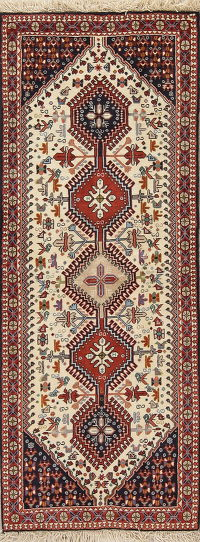 Geometric Ivory Yalameh Persian Hand-knotted Runner Rug Wool 2x7
