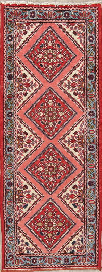 Geometric Red Hamedan Persian Hand-Knotted Runner Rug Wool 2x6