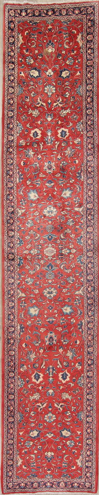 Floral Red Sarouk Persian Hand-Knotted Runner Rug Wool 3x13
