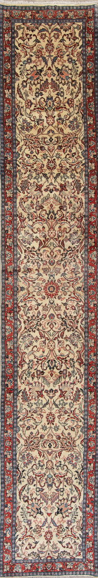 Floral Ivory Sarouk Persian Hand-Knotted Runner Rug Wool 3x16