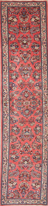 Floral Coral Red Sarouk Persian Hand-Knotted Runner Rug Wool 3x13