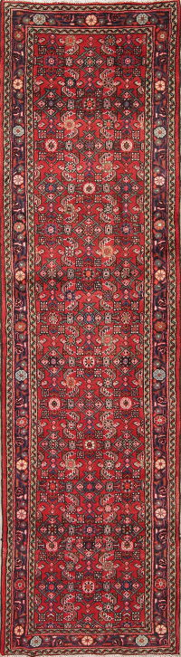 Geometric Red Hamedan Persian Hand-Knotted Runner Rug 3x10