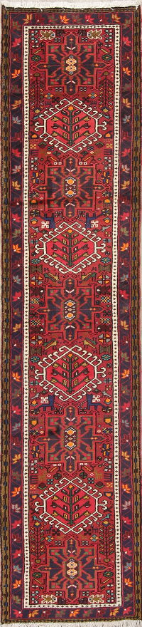 Geometric Red Gharajeh Persian Hand-Knotted Runner Rug Wool 2x9