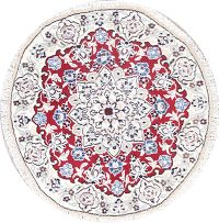 Floral Nain Persian Hand-Knotted Red Wool Round Rug 3x3