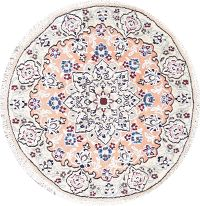 Floral Nain Persian Hand-Knotted Peach Wool Round Rug 3x3