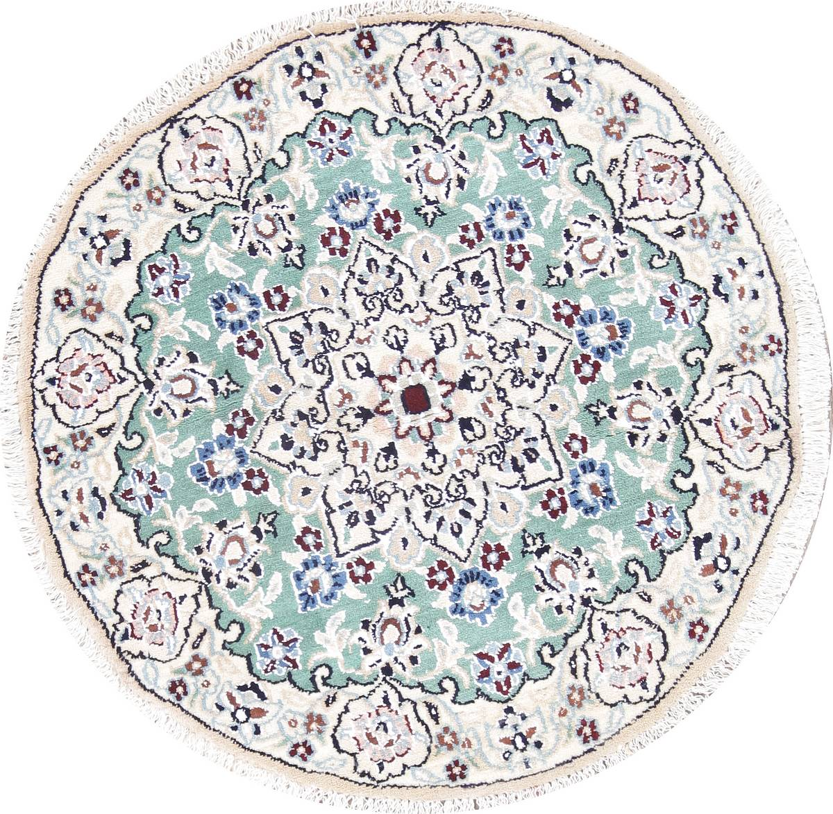 Floral Nain Persian Hand-Knotted Green Wool Round Rug 3x3