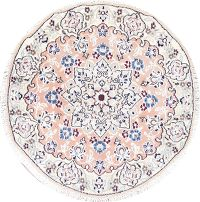 Floral Nain Persian Hand-Knotted Pink Wool Round Rug 3x3