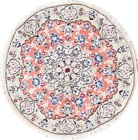 Floral Nain Persian Hand-Knotted Rust Wool Round Rug 3x3