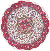 Floral Tabriz Persian Hand-Knotted Ivory Wool Round Rug 3x3
