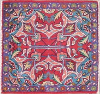 Abadeh Persian Hand-Knotted 2x2 Red Square Wool Rug