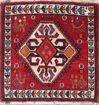 Geometric Abadeh Persian Hand-Knotted 2x2 Red Square Wool Rug