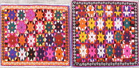 Pack of Two Geometric Abadeh Persian Hand-Knotted 2x2 Square Wool Rug