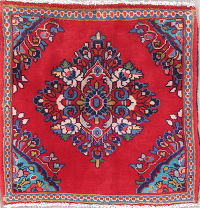 Floral Square Abadeh Persian Hand-Knotted 2x2 Red Wool Rug