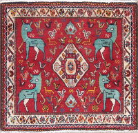 Animal Tribal Abadeh Persian Hand-Knotted 2x2 Red Square Wool Rug