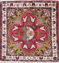 Shiraz Persian Hand-Knotted 2x2 Red Square Wool Rug
