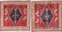 Pair Of Geometric Abadeh Persian Hand-Knotted 2x2 Square Rug